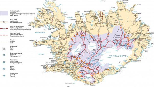 Cartes des routes en Islande