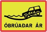 Panneau Islande : pistes avec gué réservée aux 4x4