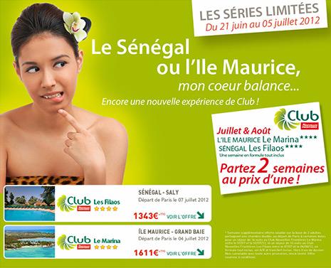 Nouvelles Frontières : 2 semaines de vacances pour le prix d'une au Sénégal ou à l'Ile Maurice !