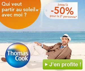 Thomas Cook : -50% pour la 2ème personne