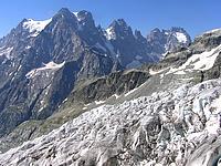 Mont Pelvoux et glacier blanc au 1er plan