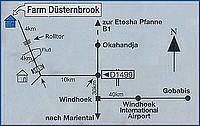 Plan d'accès à la Dusternbrook Guestfarm en Namibie