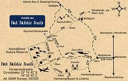 Carte d'accès au Tok Tokkie Trails