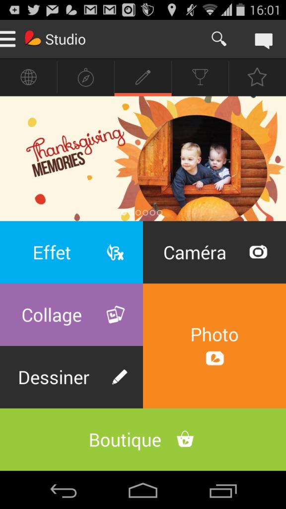 Page d'accueil de la très bonne application PicsArt