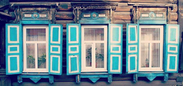 Jolie façade dans le centre d'Irkoutsk