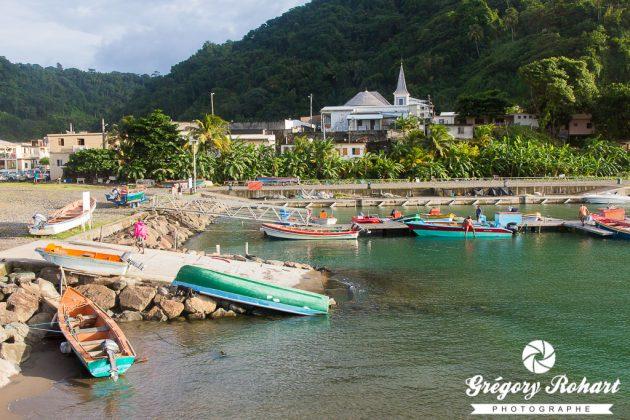 Le petit port de Grand-Rivière à l'extrême nord de la Martinique