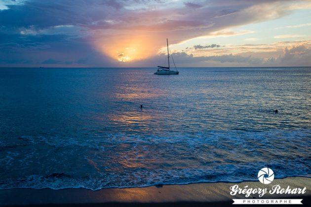 Coucher de soleil sur la plage du Carbet