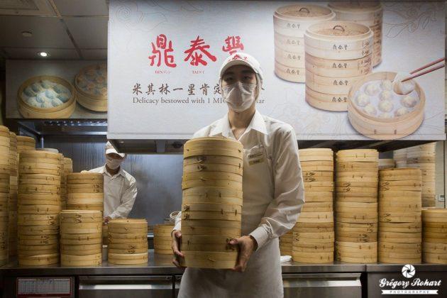 Les paniers en bambou sont prêt à être servis