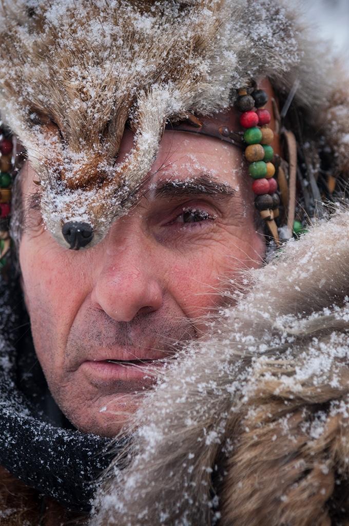 Canada, Quebec, Mauricie, région de Saint-Alexis-les-Monts, Pourvoirie du Lac Blanc l'hiver, Pierre trappeur indien algonquin
