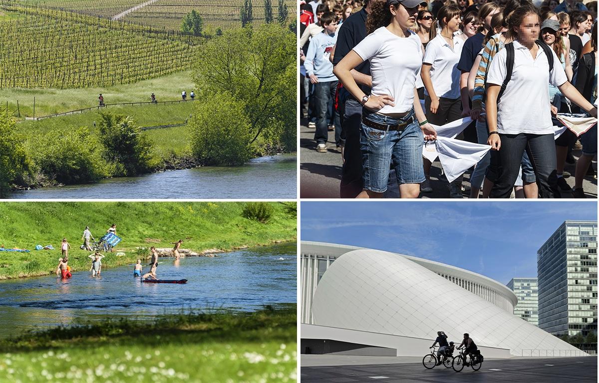 4 images du Luxembour. Les bords de la Moselle, les Fêtes de la Pentecôte à Echternach, la rivière Sure, et Kirchberg ou le quartier Européen