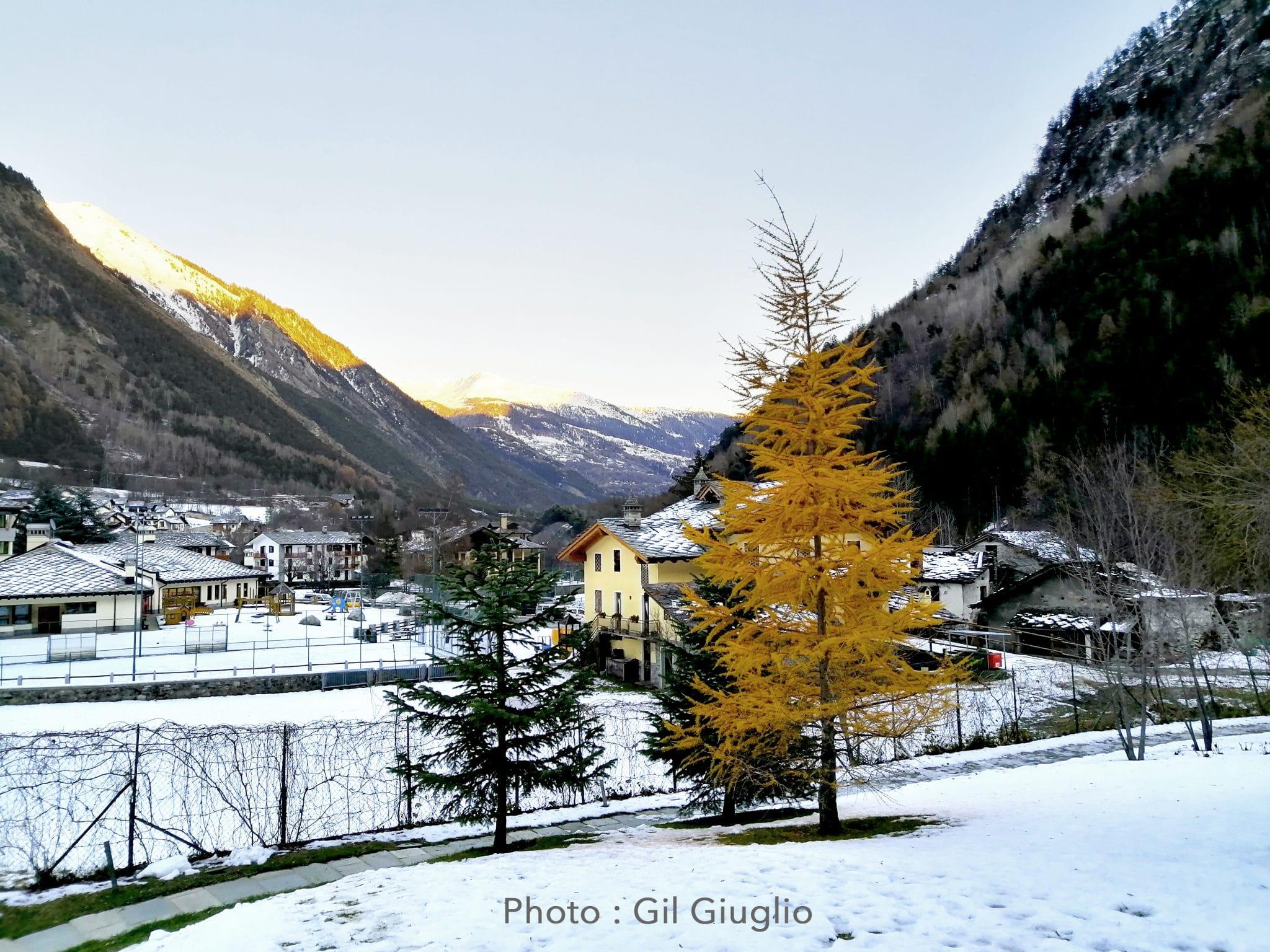 Vue depuis les bains extérieurs du QC Terme Monte Bianco
