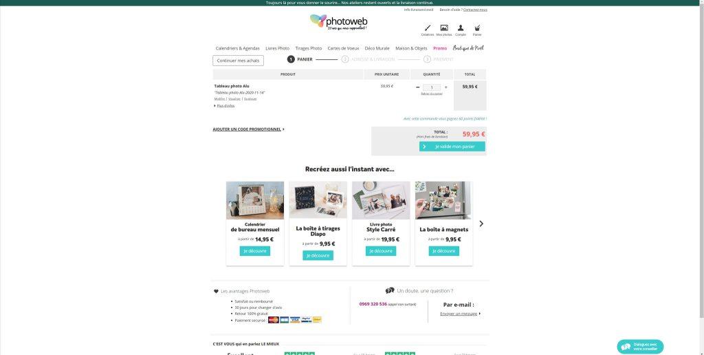 Panier paiement de Photoweb