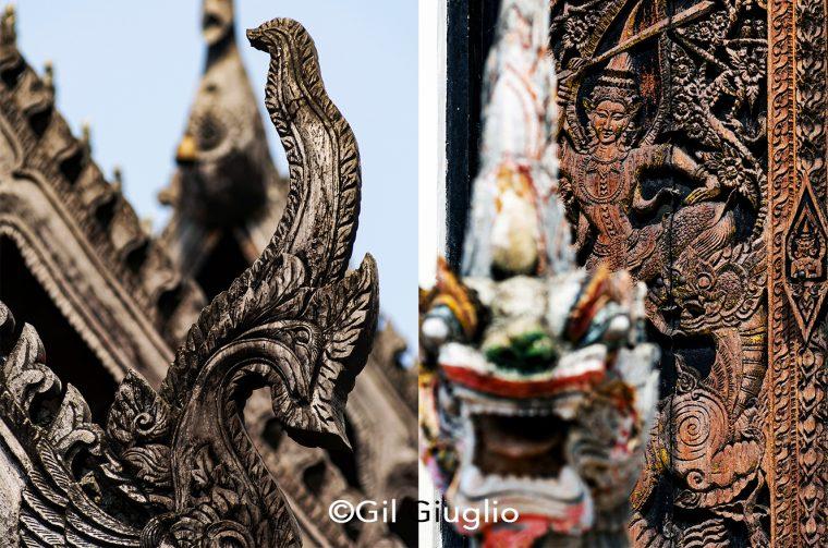 2 photos en plans rapprochés sculptures de temple à Lampang