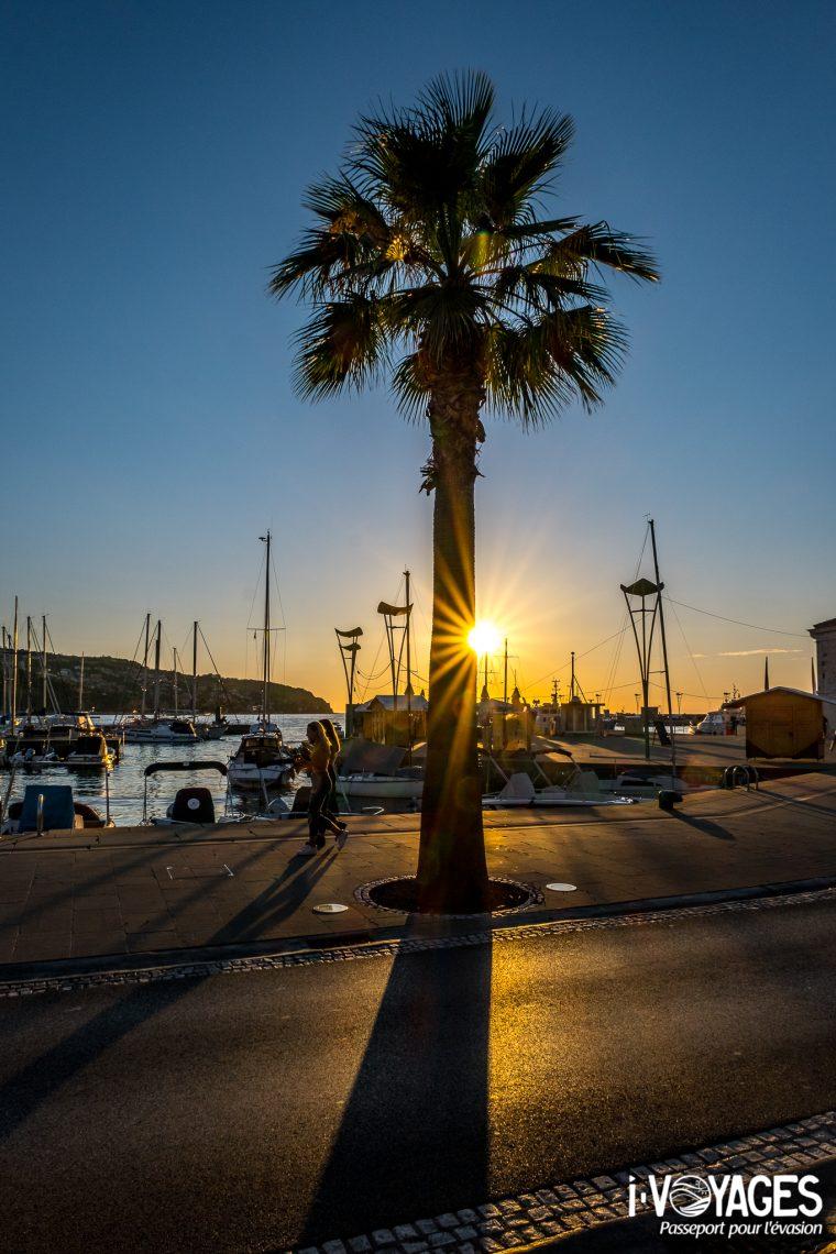 Coucher de soleil, port de Koper