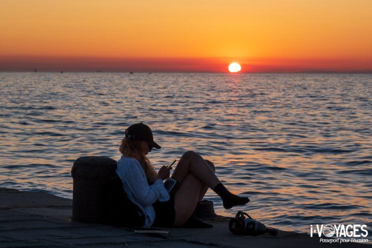 Coucher de soleil, plage de Koper