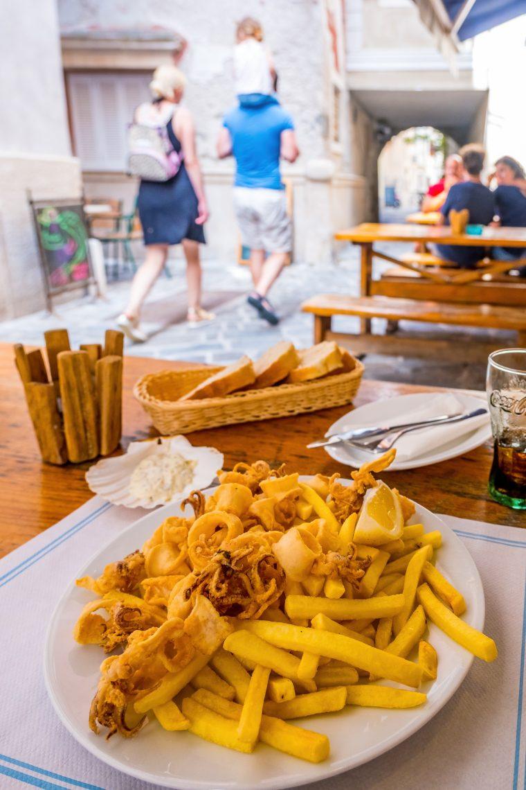 Calamar frites, Piran