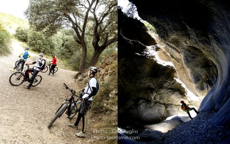 Montage de 2 photos avec vélo électirque et canyoning dans Costa Blanca
