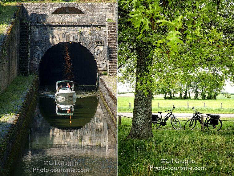 Deux photos avec un bateau sur canal à la sortie d'un tunnel et vélos dans la campagne
