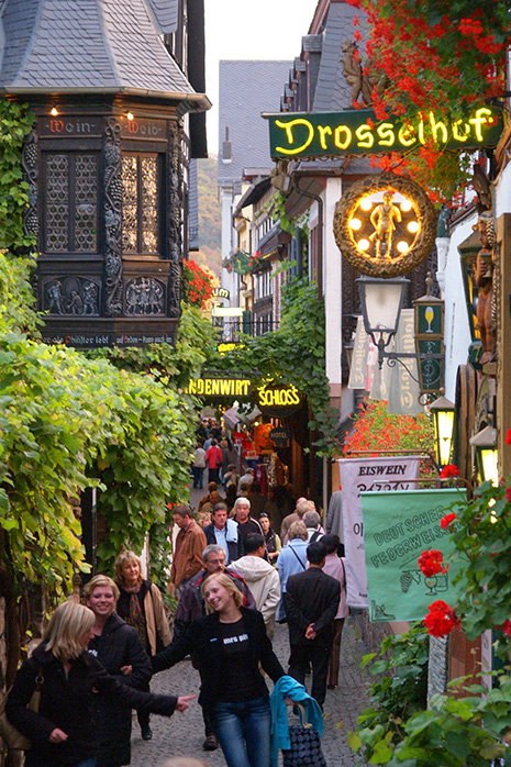Haut lieu viticole, la petite cité de Rüdesheim et sa rue mythique, la Drosselgasse