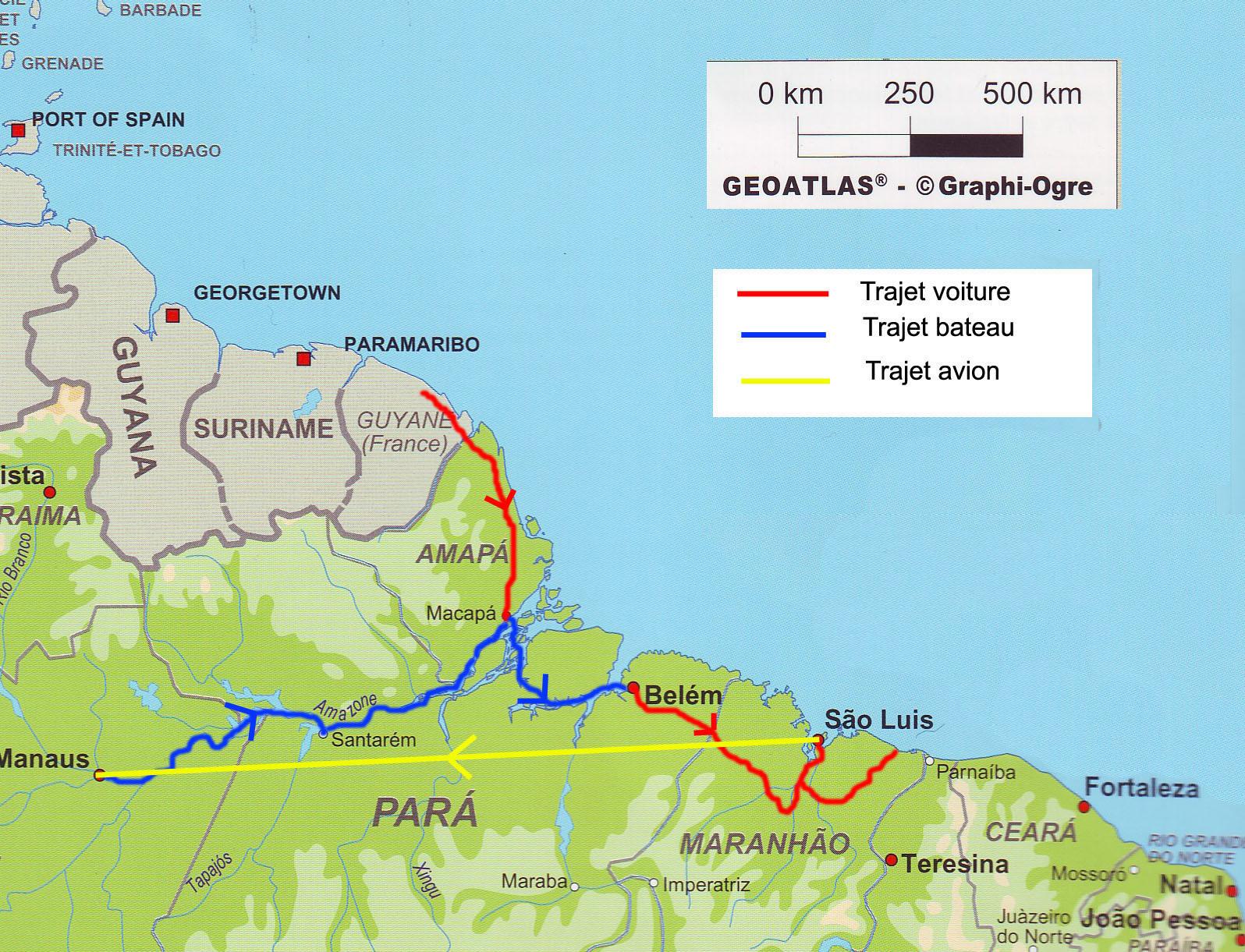 Carte Du Bresil Nordeste.Tour De L Amapa Et Du Nordeste