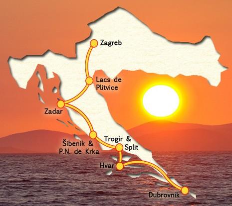 Itinéraire de notre voyage en Croatie