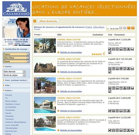 Site internet Casamundo