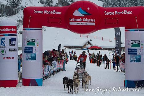 Arrivée de l'étape de la Grande Odyssée Savoie Mont-Blanc à Flaine