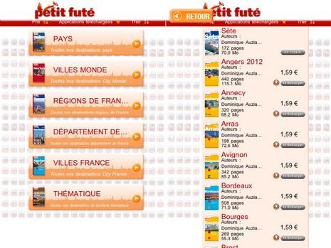 Capture d'écran de l'aplication Iphone Petit Futé