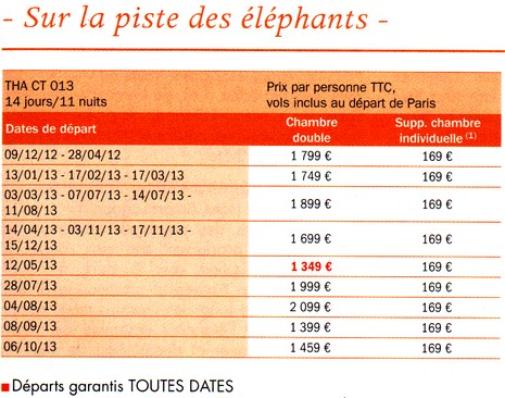 Plus de 1600 dates de départs garantis