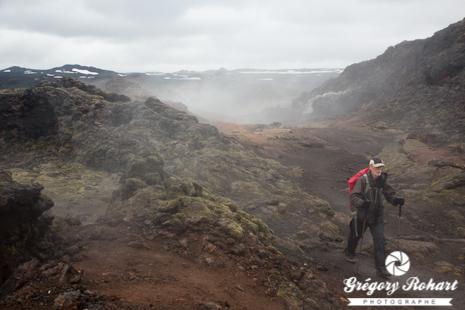 Traversée de la coulé de lave du Krafla