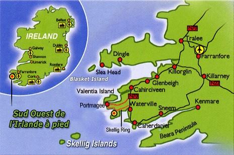 Carte du sud ouest de l'Irlande