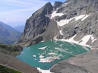 Lac d'Eychauda depuis le col des Grangettes