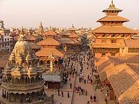 Coucher de soleil sur Durbar Square de Patan