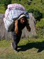 Porteur népalais transportant des vêtements
