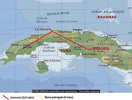 Carte de l'itinéraire de notre voyage à Cuba